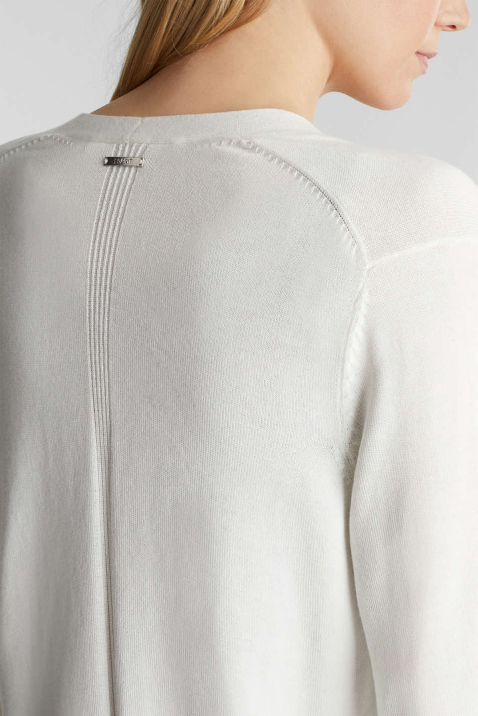 Cardigan with organic cotton, OFF WHITE, detail image number 2