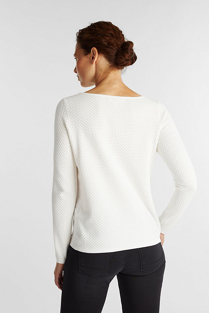 Cotton jumper with organic cotton, OFF WHITE, detail image number 3