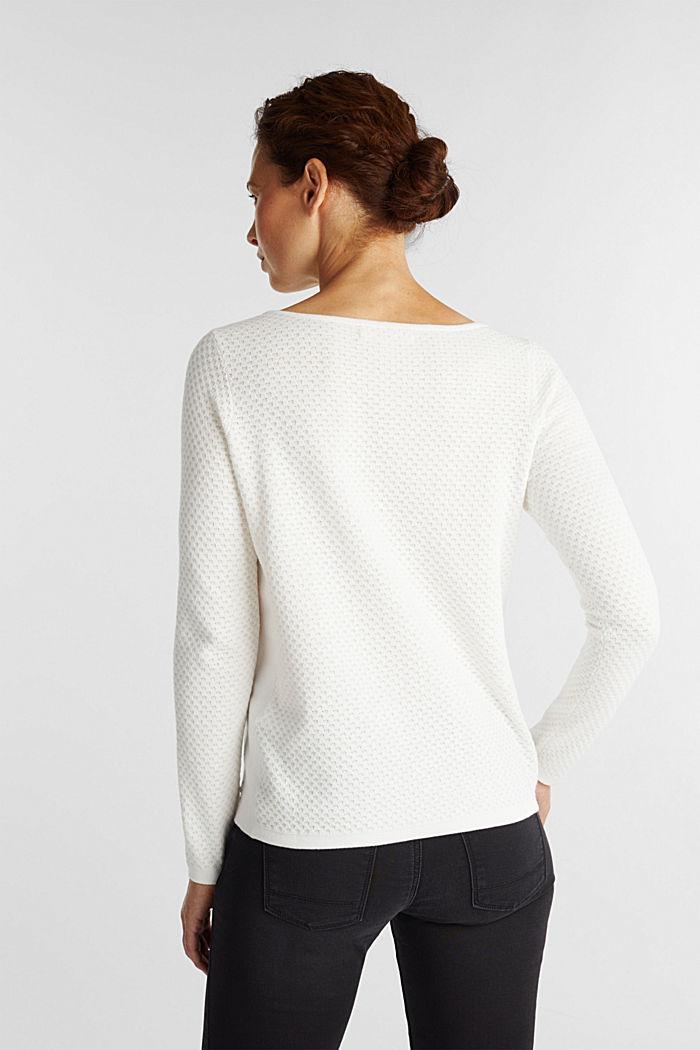 Baumwoll-Pullover mit Organic Cotton, OFF WHITE, detail image number 3
