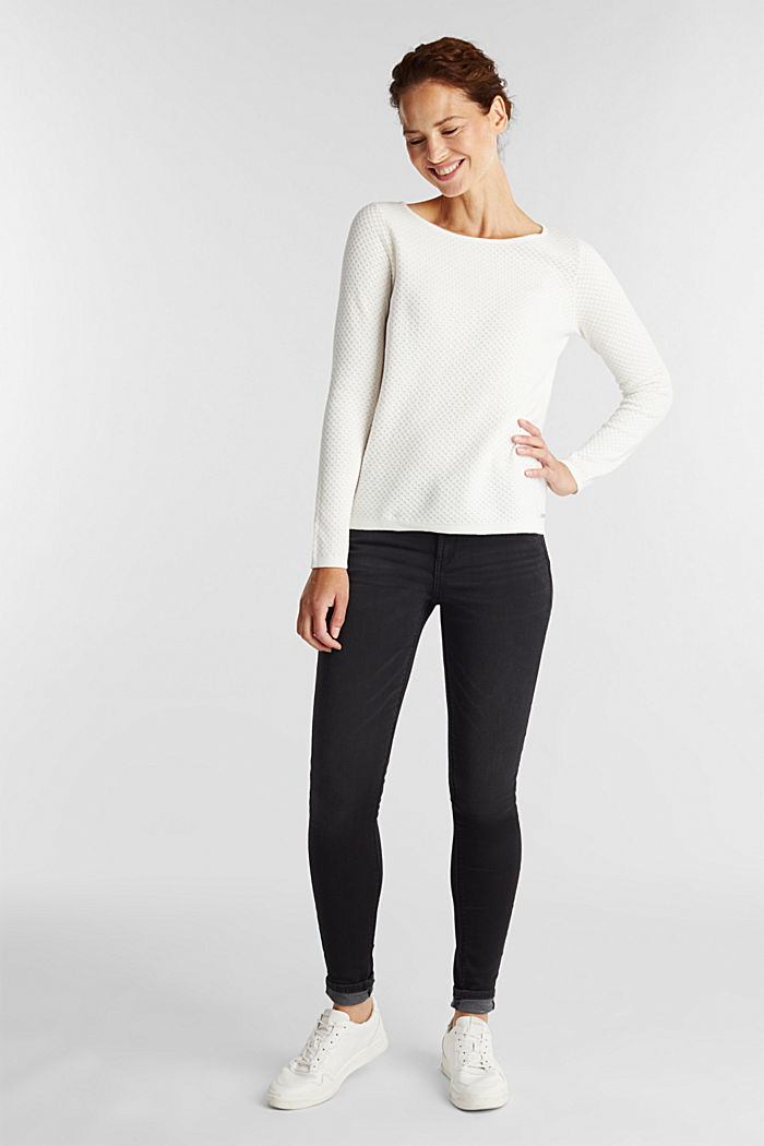 Baumwoll-Pullover mit Organic Cotton, OFF WHITE, detail image number 1