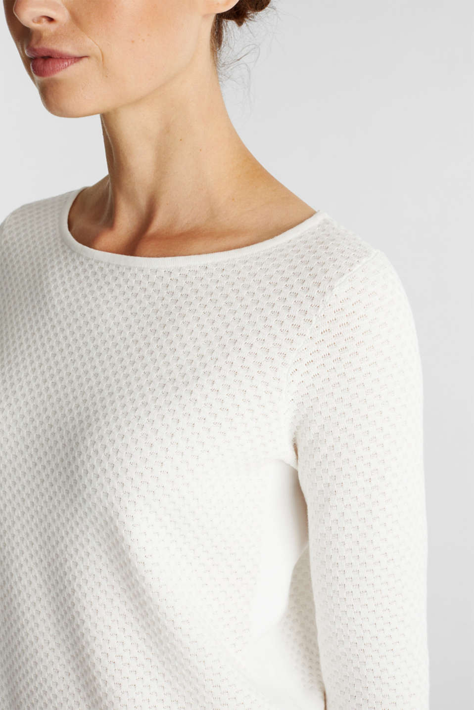 Cotton jumper with organic cotton, OFF WHITE, detail image number 2