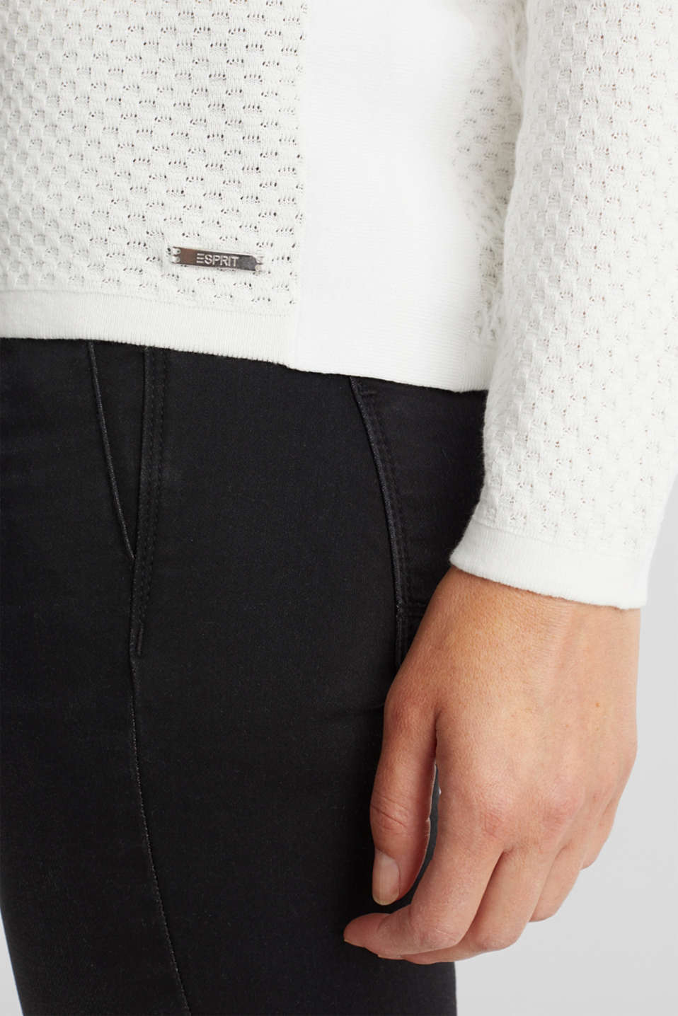 Cotton jumper with organic cotton, OFF WHITE, detail image number 4