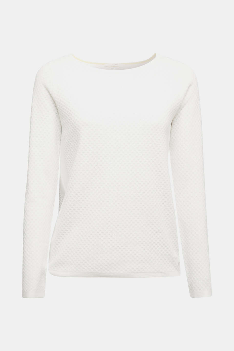 Cotton jumper with organic cotton, OFF WHITE, detail image number 5