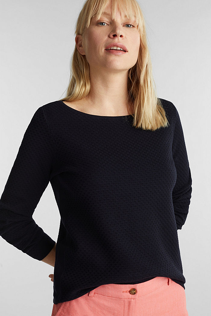 Cotton jumper with organic cotton, NAVY, detail image number 0
