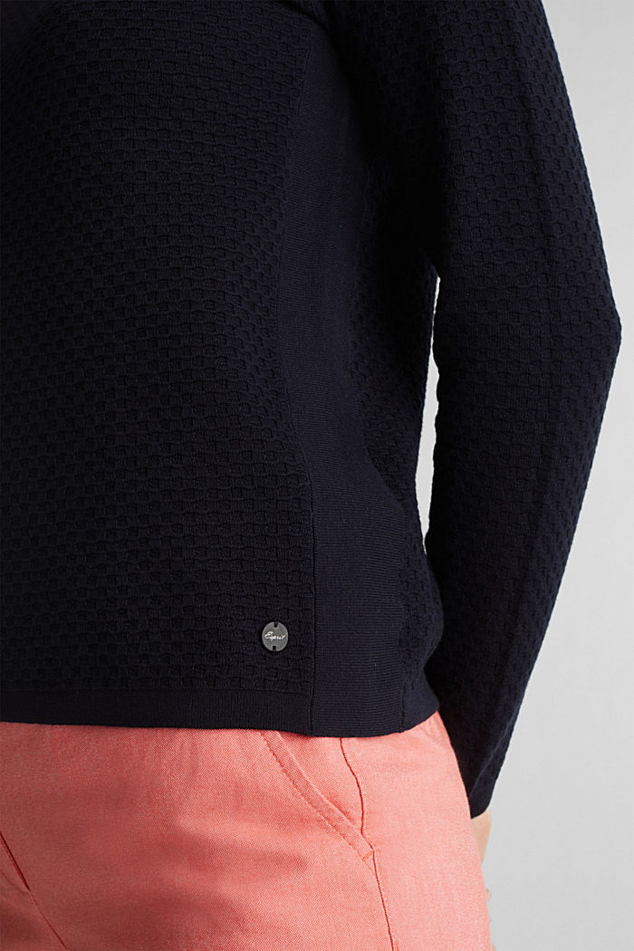 Cotton jumper with organic cotton, NAVY, detail image number 2