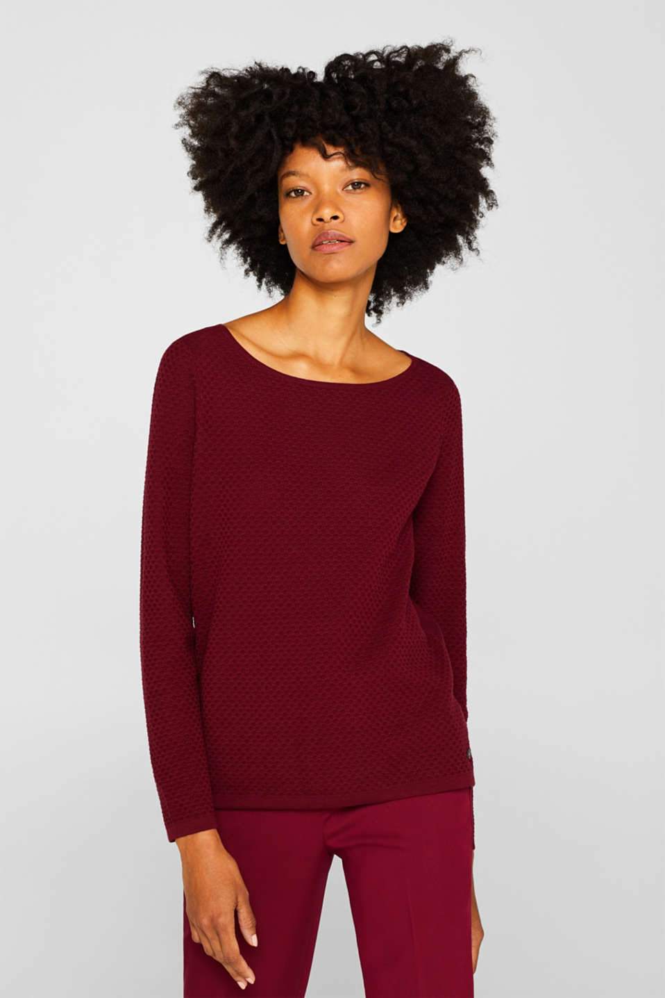 Sweaters, GARNET RED, detail image number 0