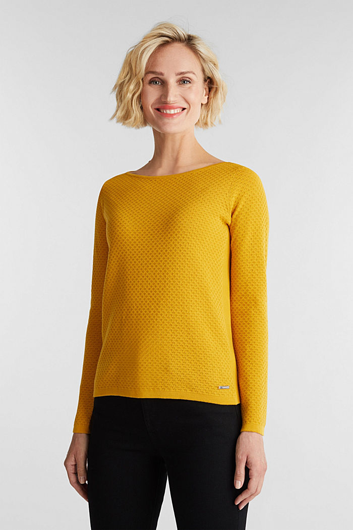 Baumwoll-Pullover mit Organic Cotton, BRASS YELLOW, detail image number 0