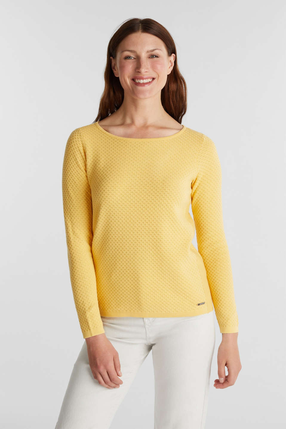 Cotton jumper with organic cotton, YELLOW, detail image number 0
