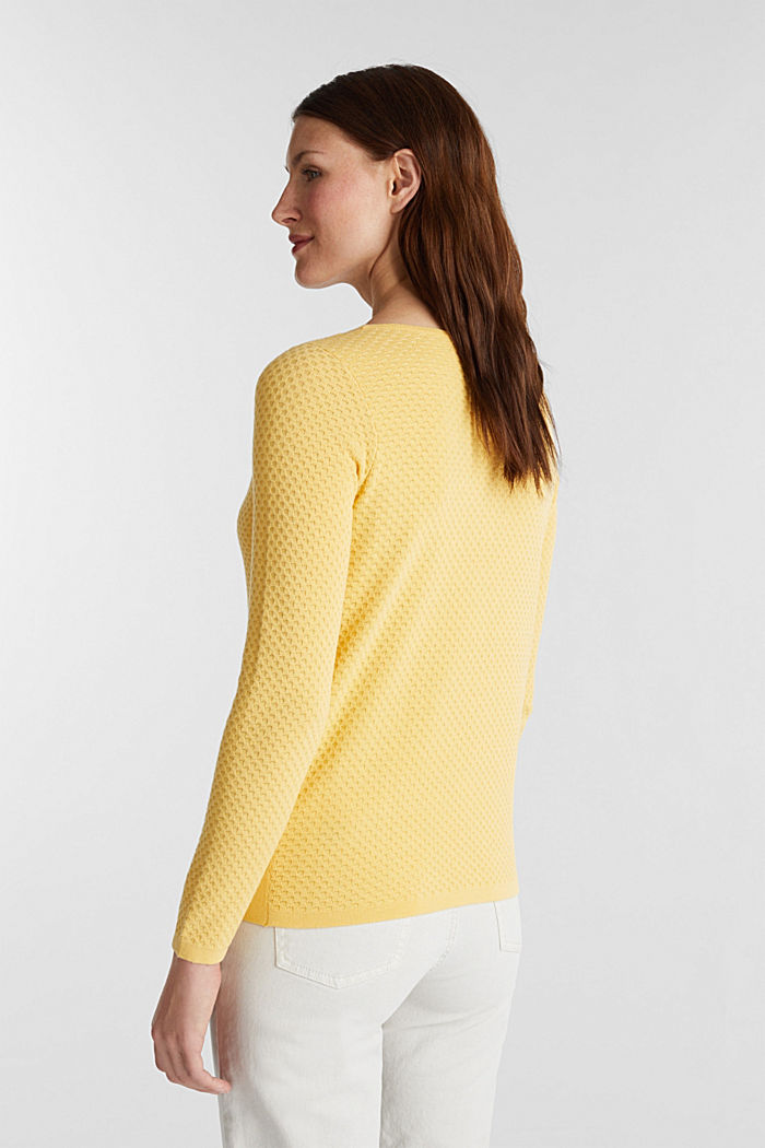 Baumwoll-Pullover mit Organic Cotton, YELLOW, detail image number 3