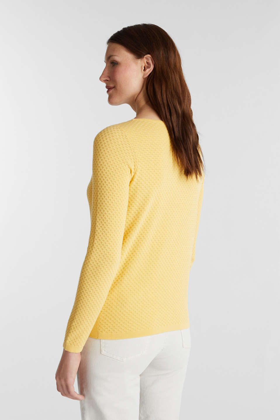 Cotton jumper with organic cotton, YELLOW, detail image number 3