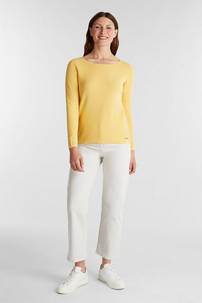 Baumwoll-Pullover mit Organic Cotton, YELLOW, detail image number 1