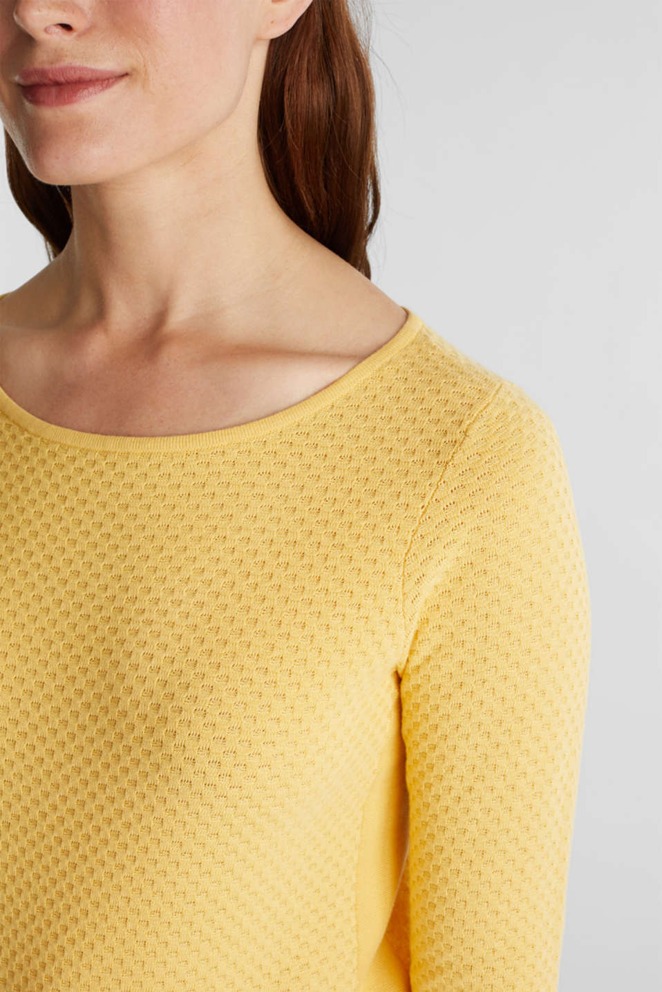 Cotton jumper with organic cotton, YELLOW, detail image number 2