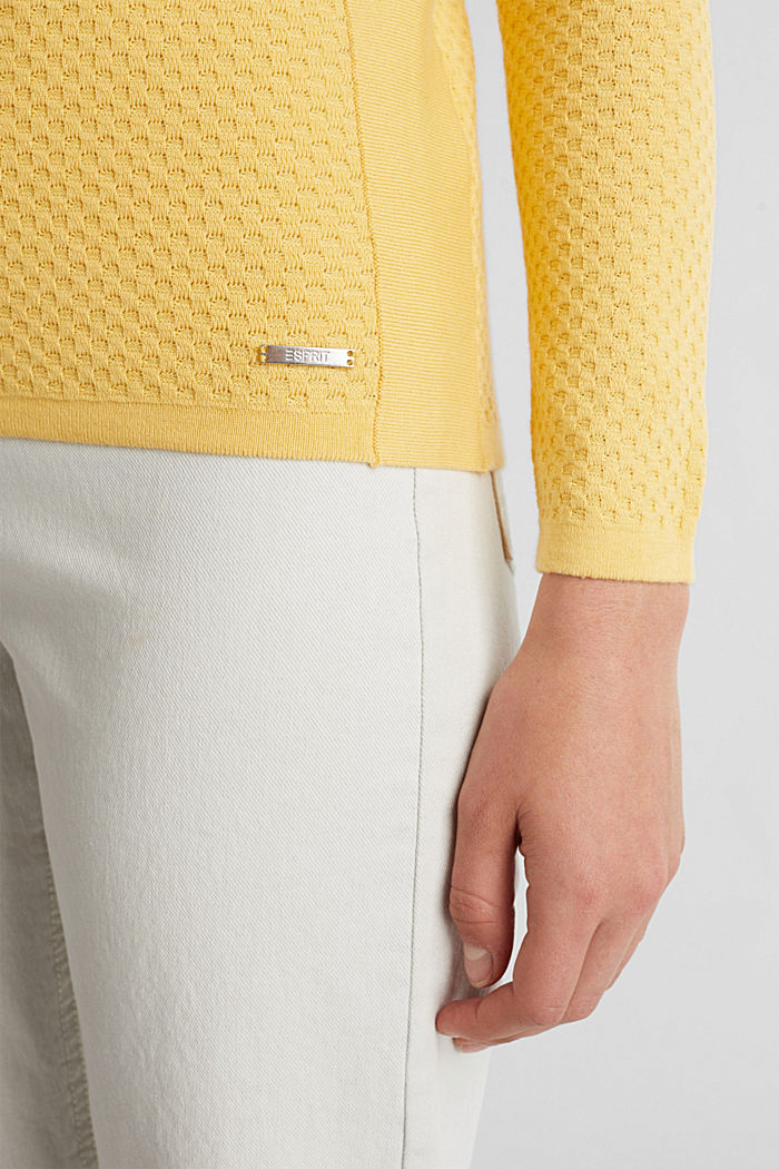 Baumwoll-Pullover mit Organic Cotton, YELLOW, detail image number 5