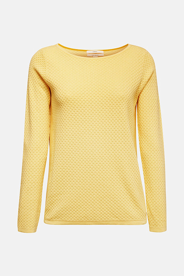 Baumwoll-Pullover mit Organic Cotton, YELLOW, detail image number 6