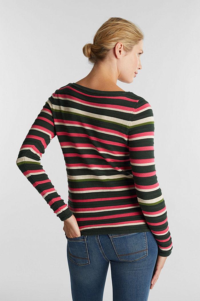 Textured jumper in 100% cotton, DARK GREEN, detail image number 3