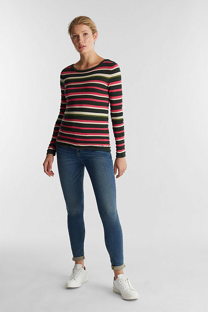 Textured jumper in 100% cotton, DARK GREEN, detail image number 1