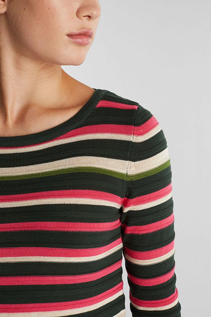 Textured jumper in 100% cotton, DARK GREEN, detail image number 2