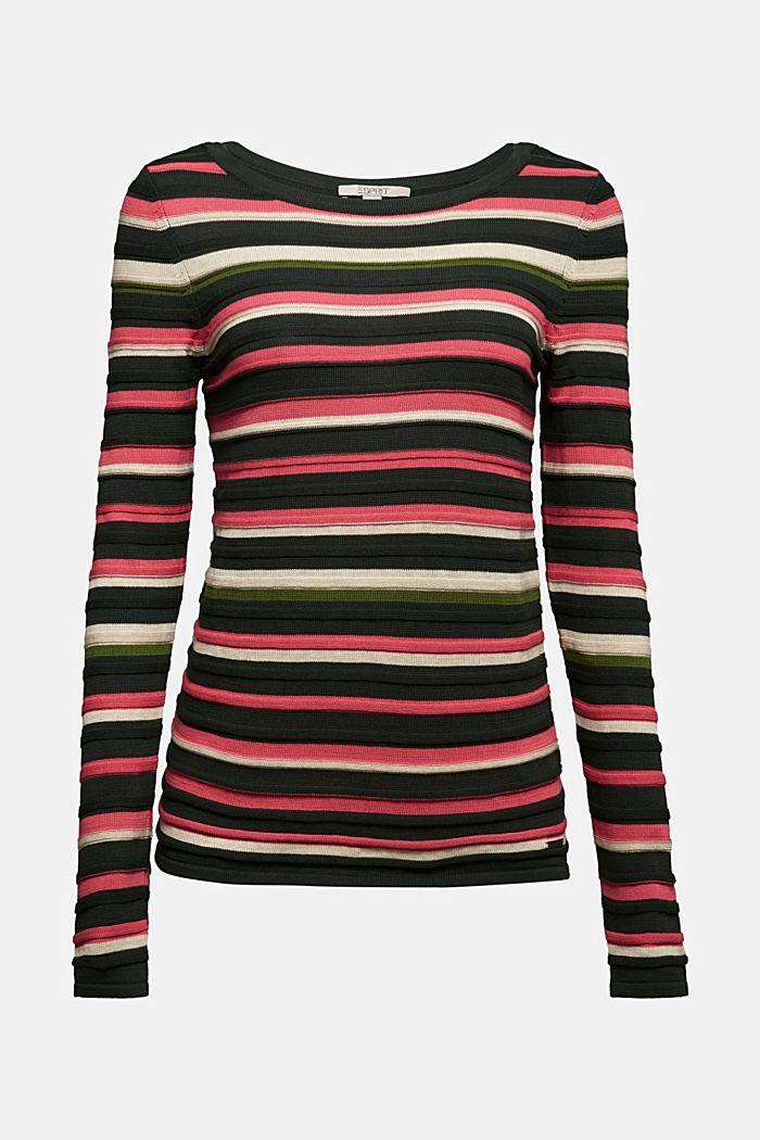 Textured jumper in 100% cotton, DARK GREEN, detail image number 6