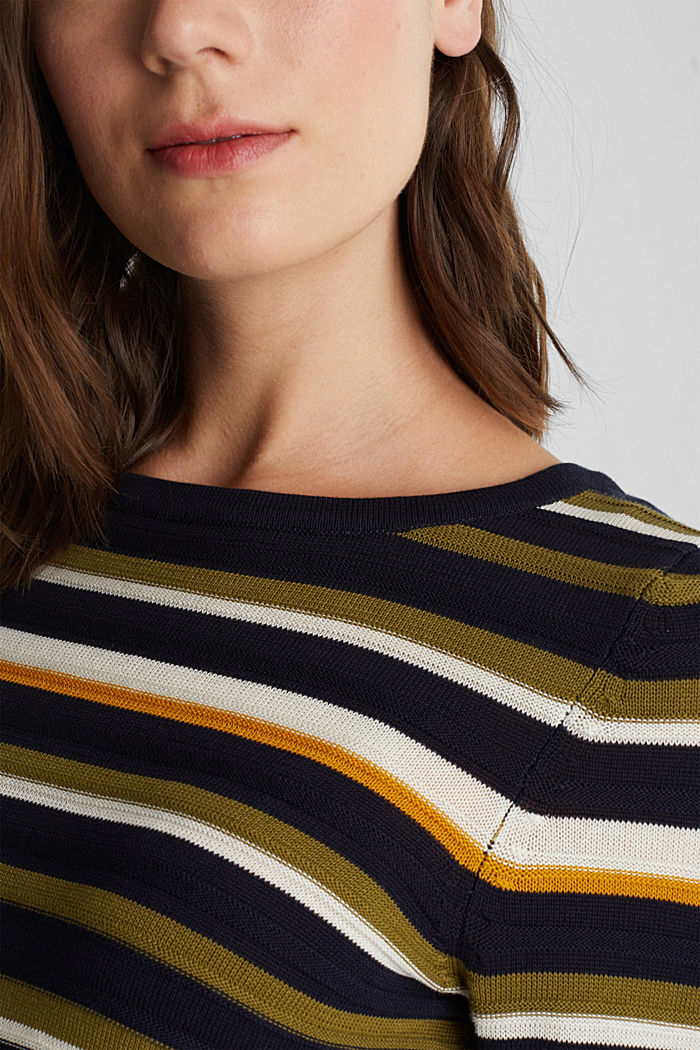 Textured jumper in 100% cotton, NAVY, detail image number 2