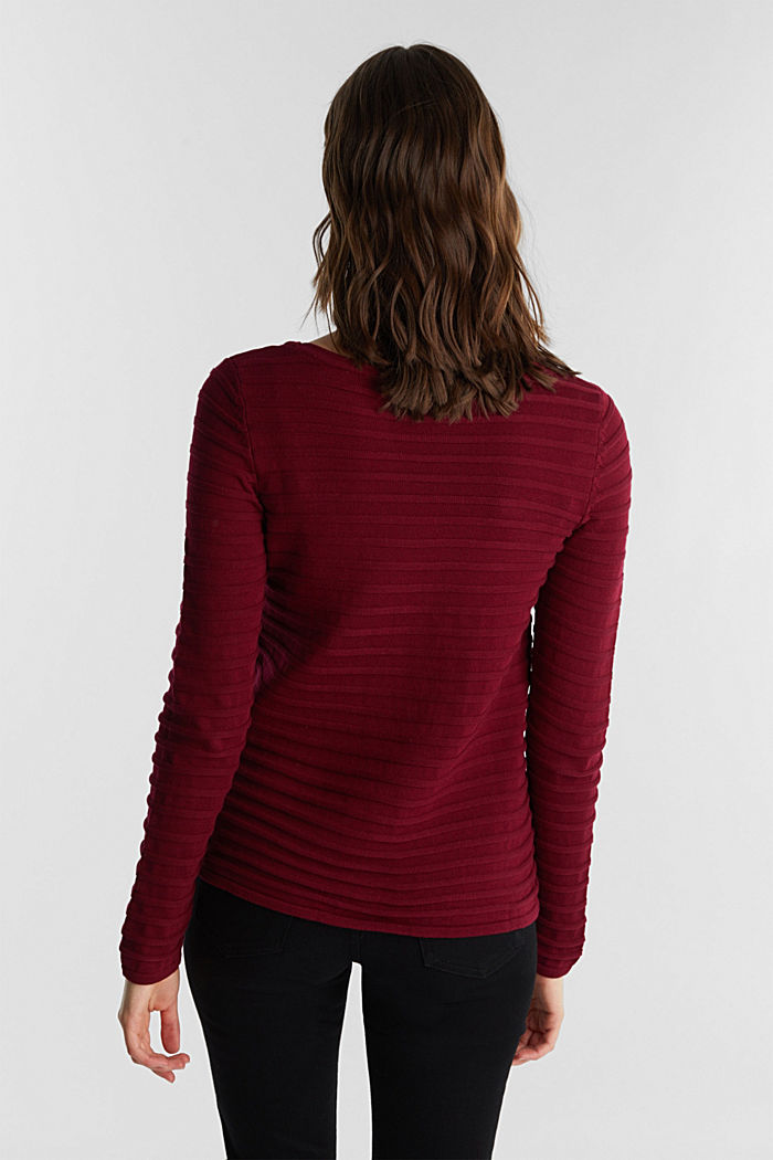 Textured jumper in 100% cotton, BORDEAUX RED, detail image number 2