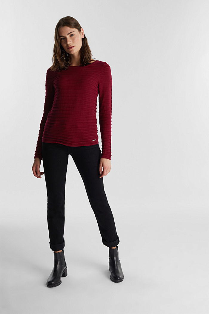 Textured jumper in 100% cotton, BORDEAUX RED, detail image number 1