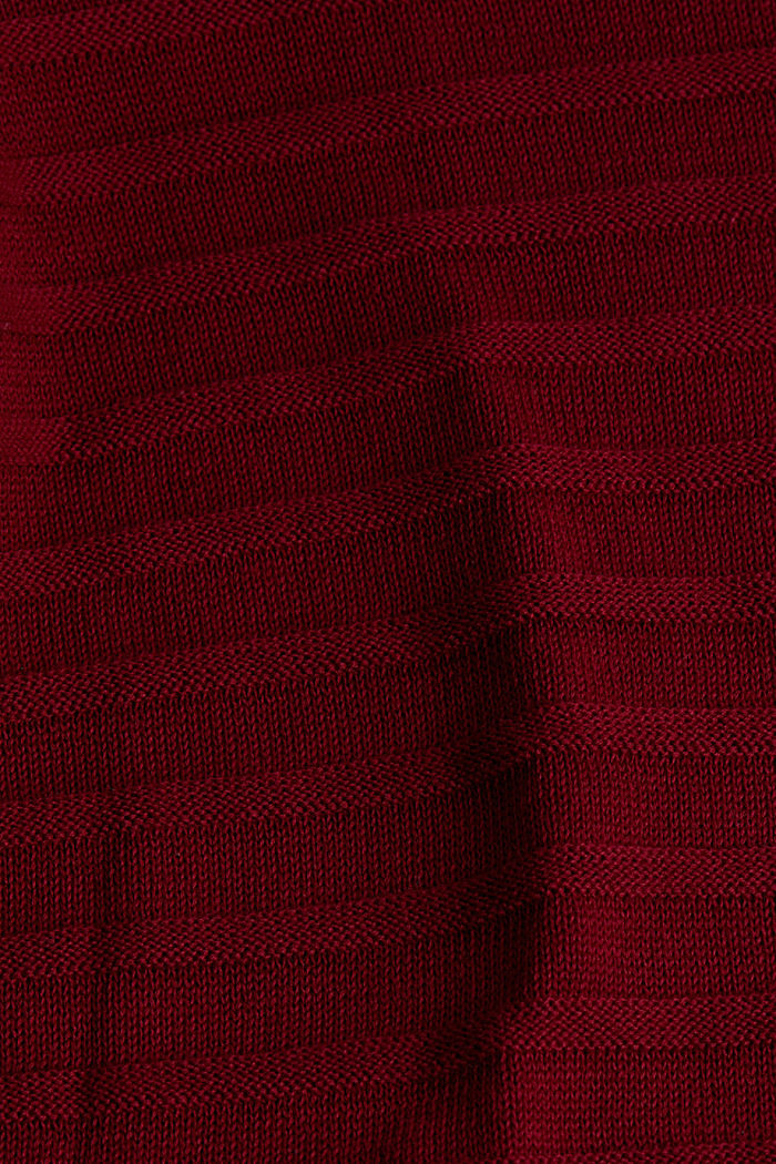 Textured jumper in 100% cotton, BORDEAUX RED, detail image number 3