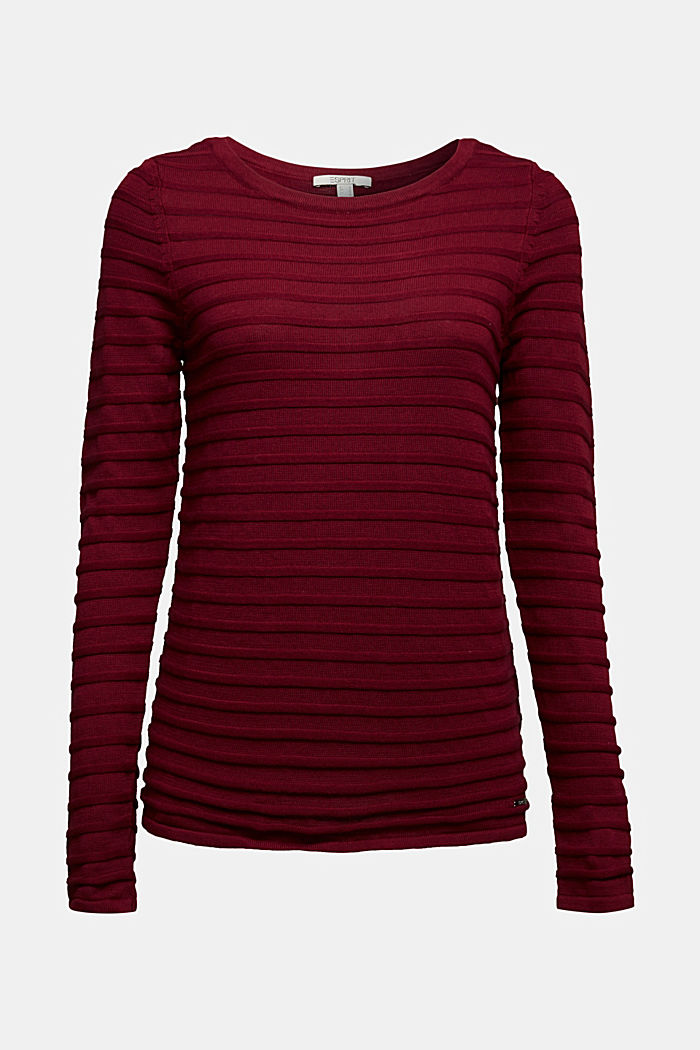 Textured jumper in 100% cotton, BORDEAUX RED, detail image number 5