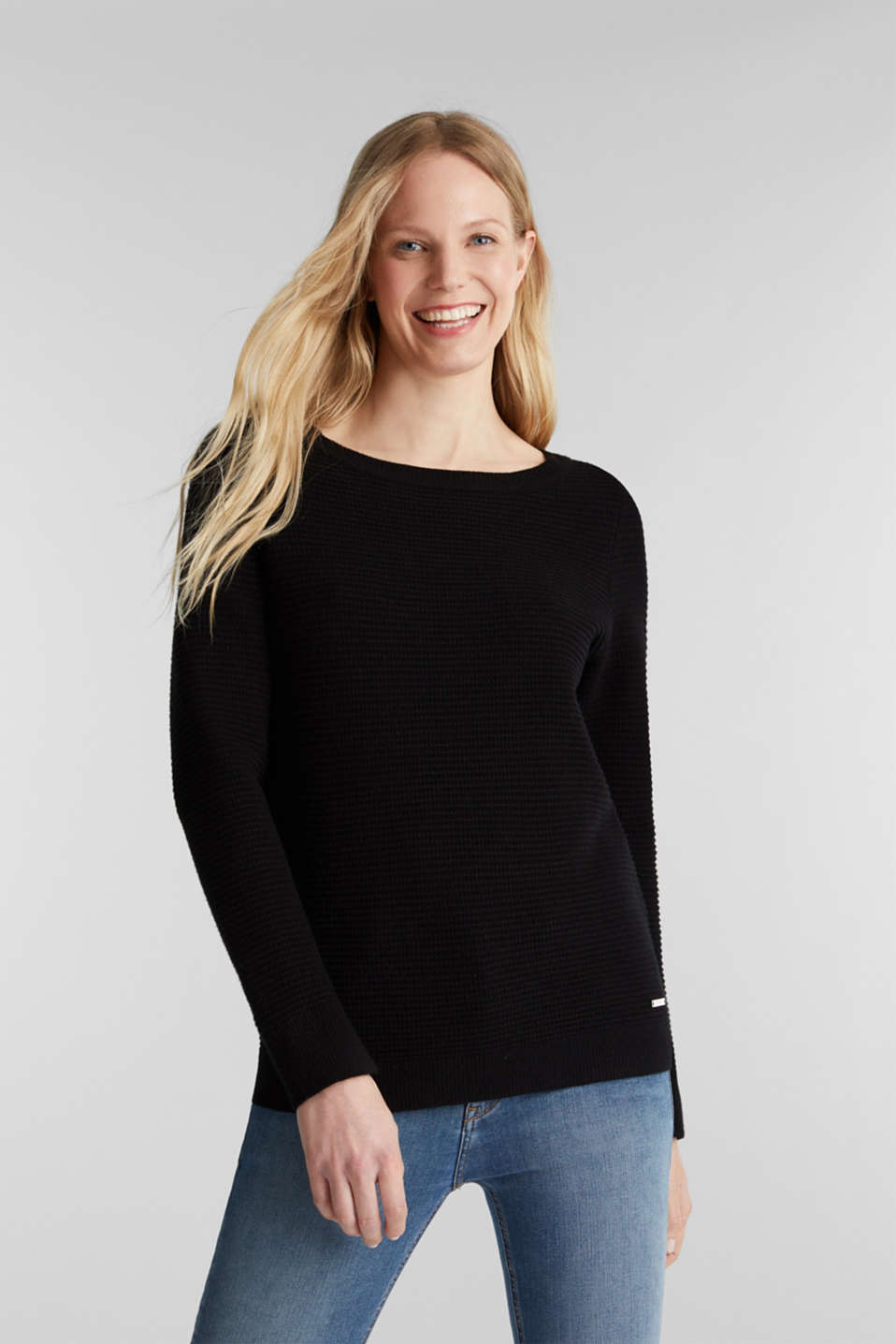 Basic jumper with a ribbed texture