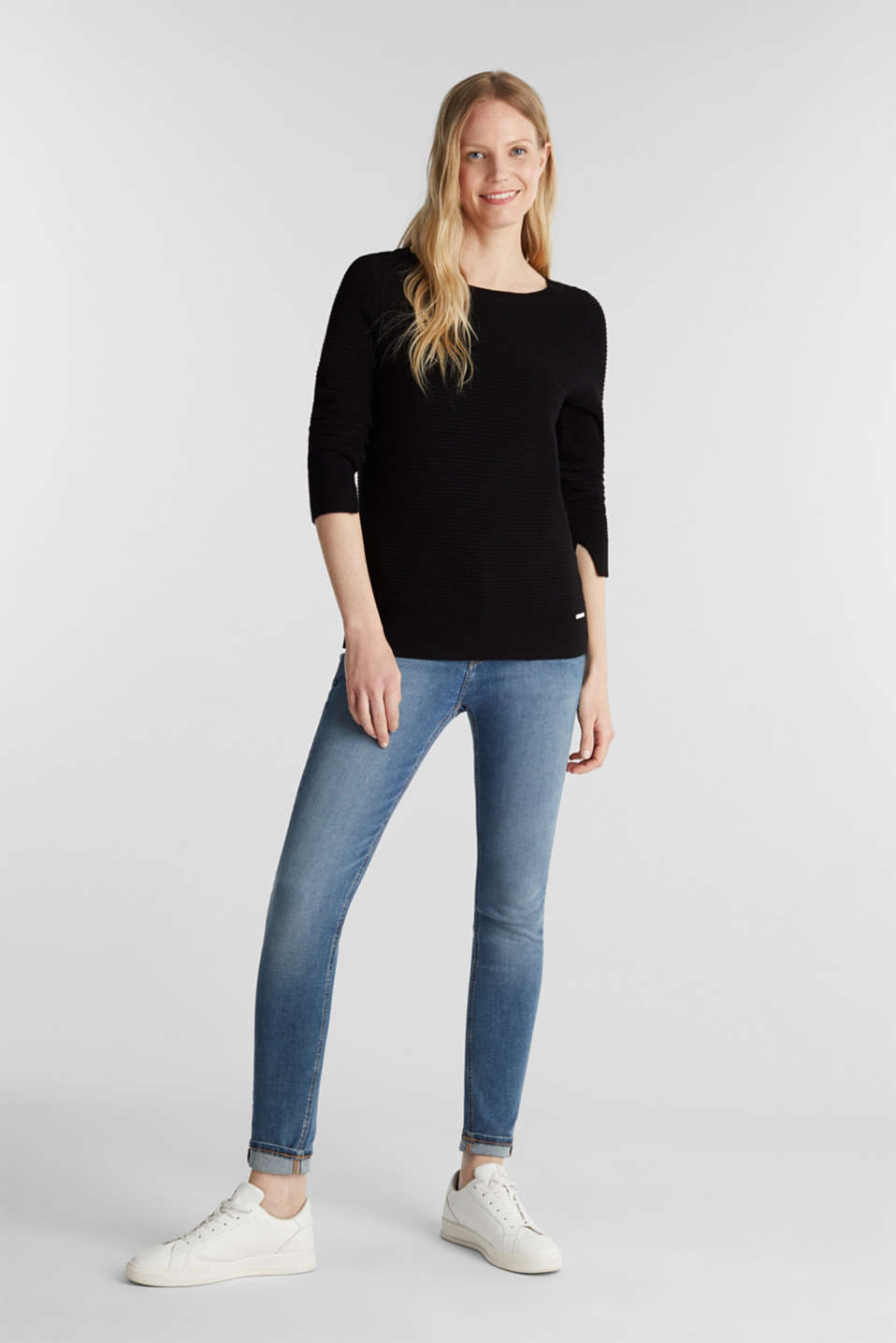 Basic jumper with a ribbed texture, BLACK, detail image number 1