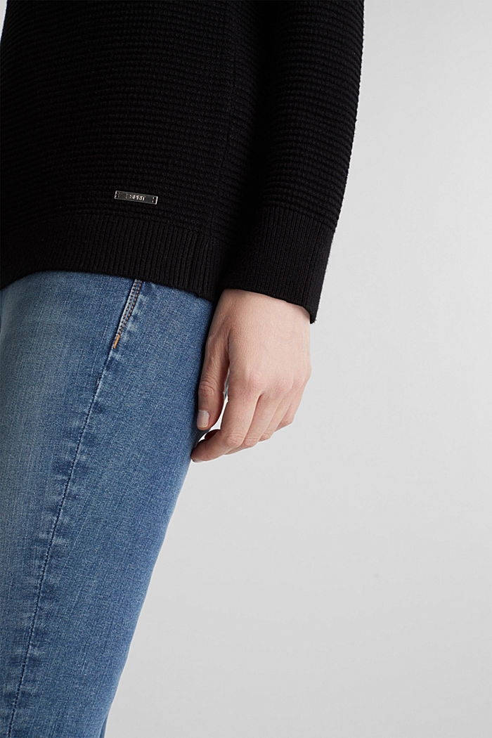 Basic jumper with a ribbed texture, BLACK, detail image number 2