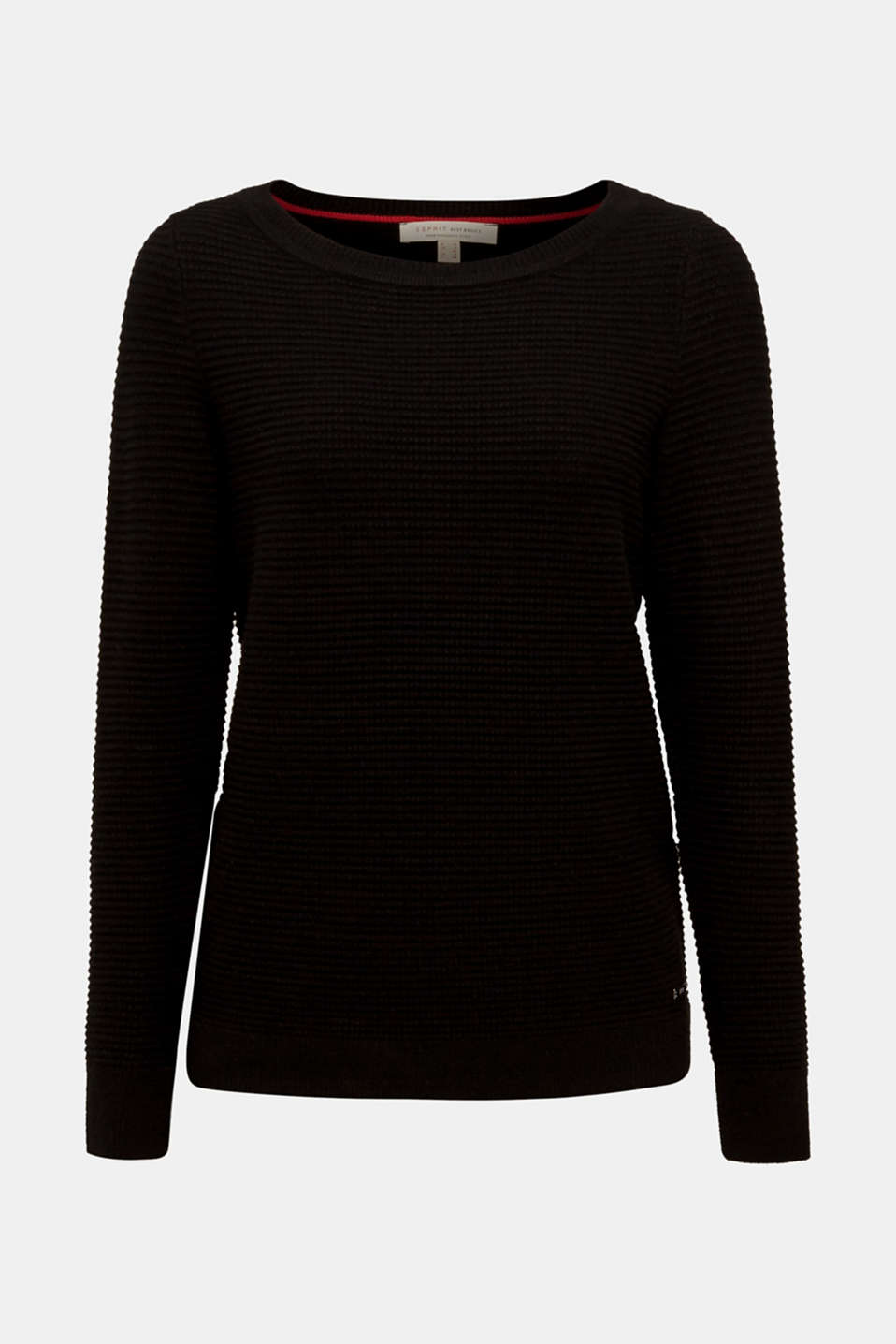 Basic jumper with a ribbed texture, BLACK, detail image number 5