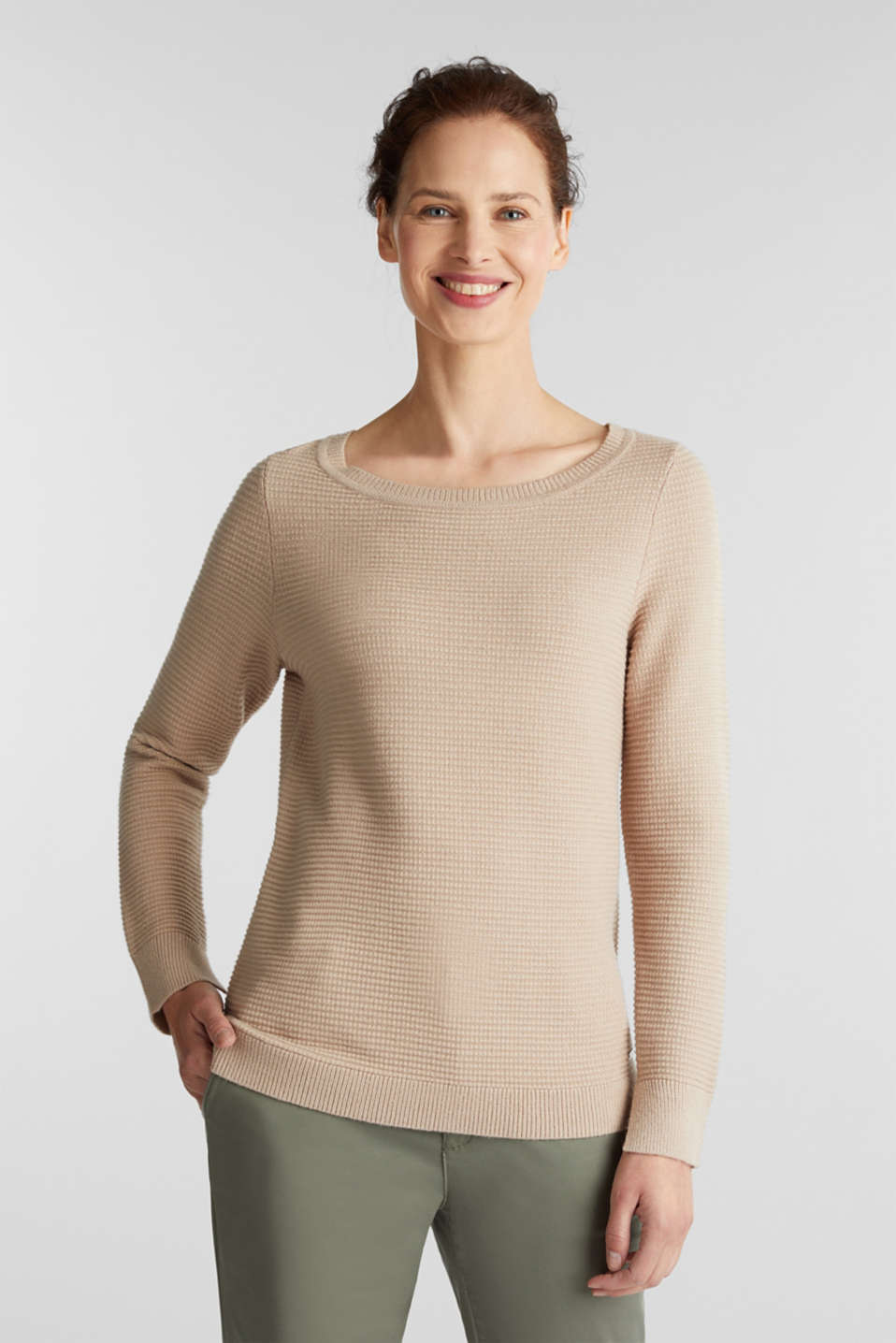 Basic jumper with a ribbed texture, BEIGE, detail image number 0