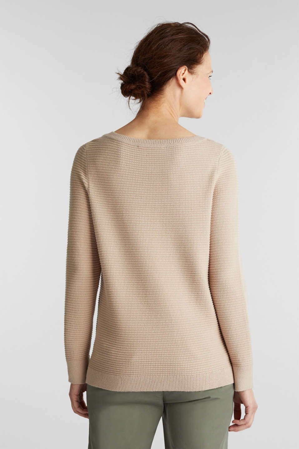 Basic jumper with a ribbed texture, BEIGE, detail image number 3