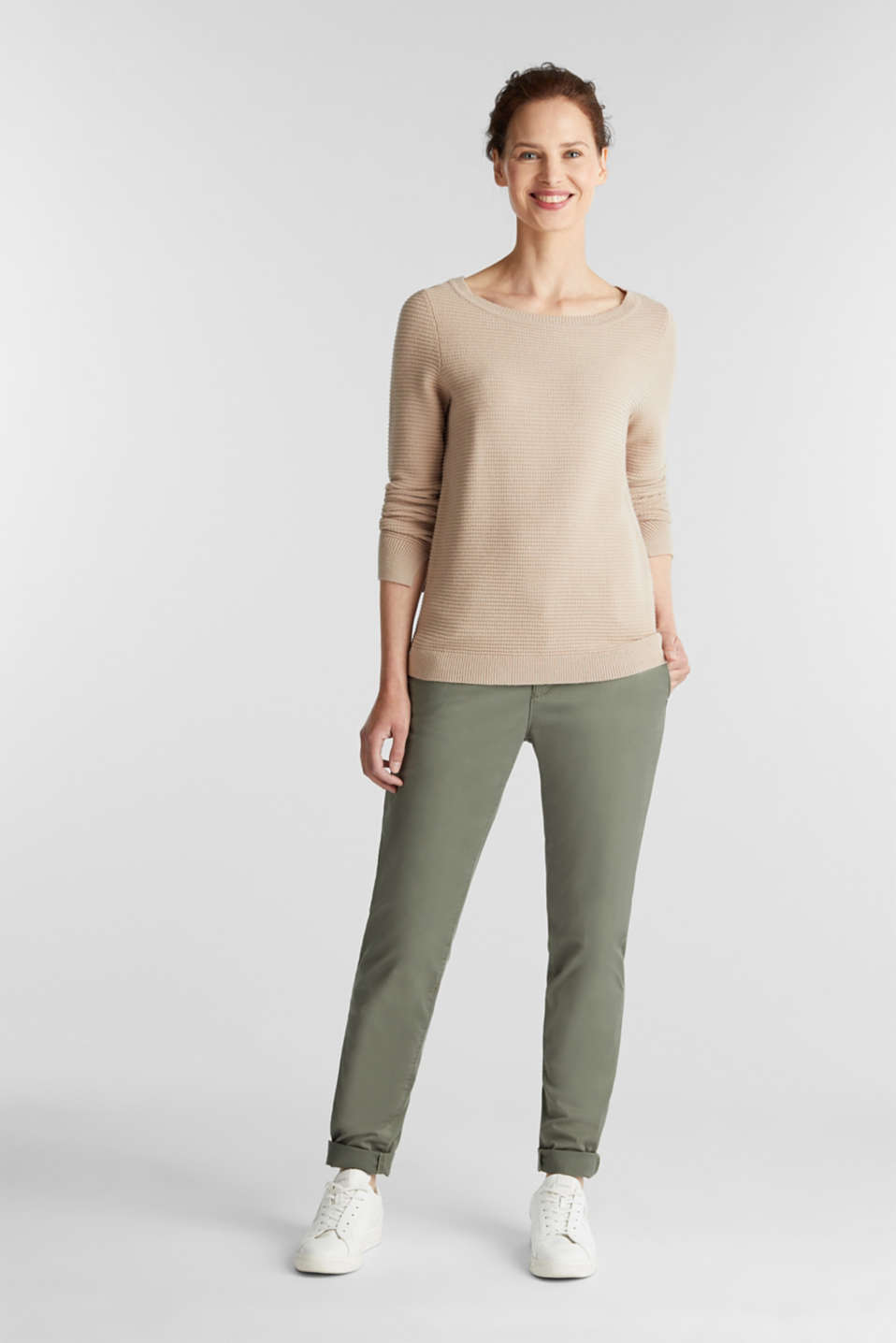 Basic jumper with a ribbed texture, BEIGE, detail image number 1