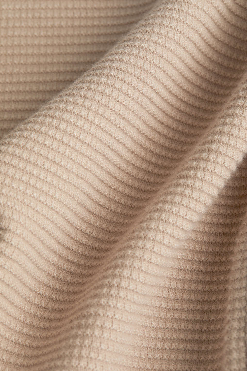 Basic jumper with a ribbed texture, BEIGE, detail image number 4