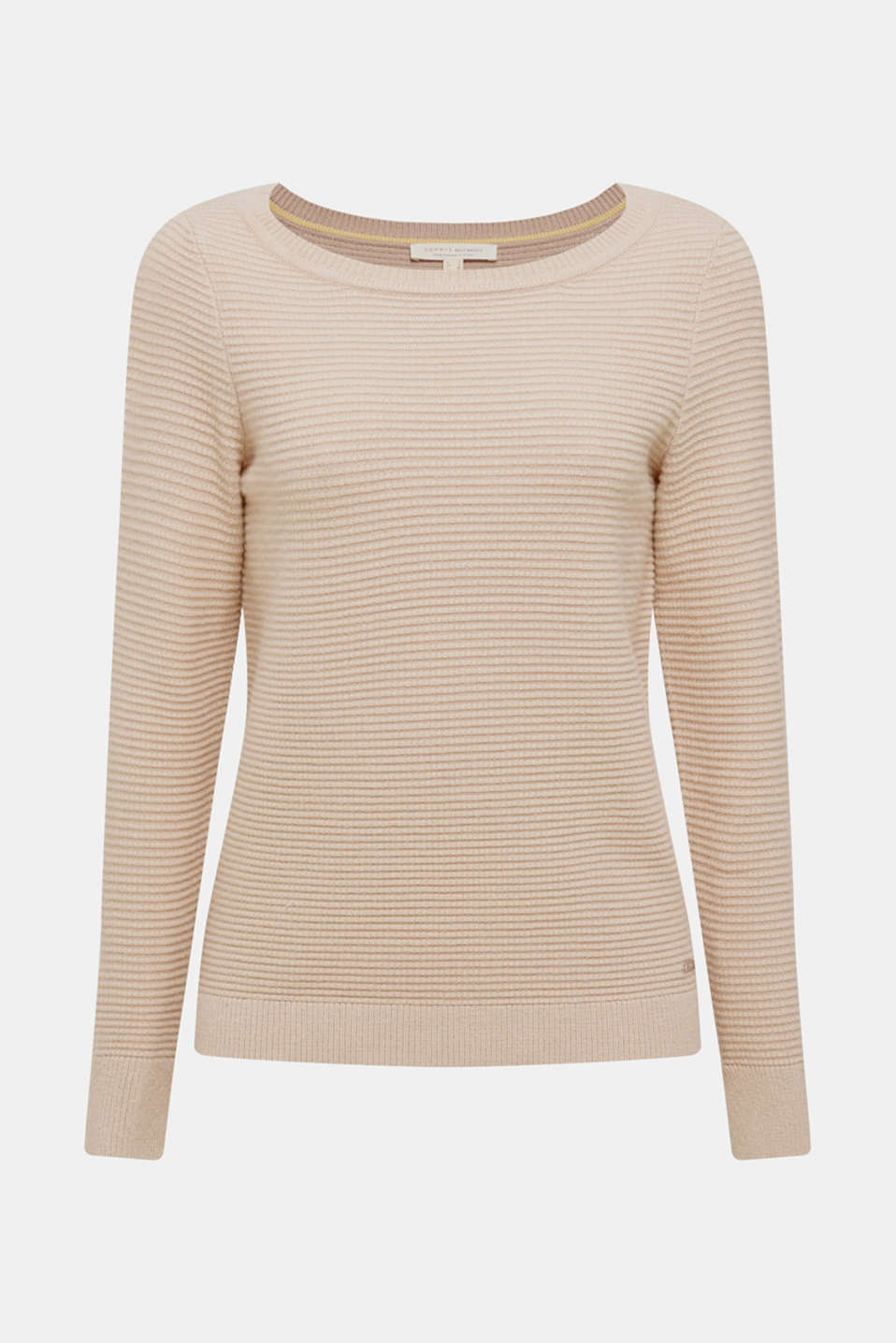Basic jumper with a ribbed texture, BEIGE, detail image number 5