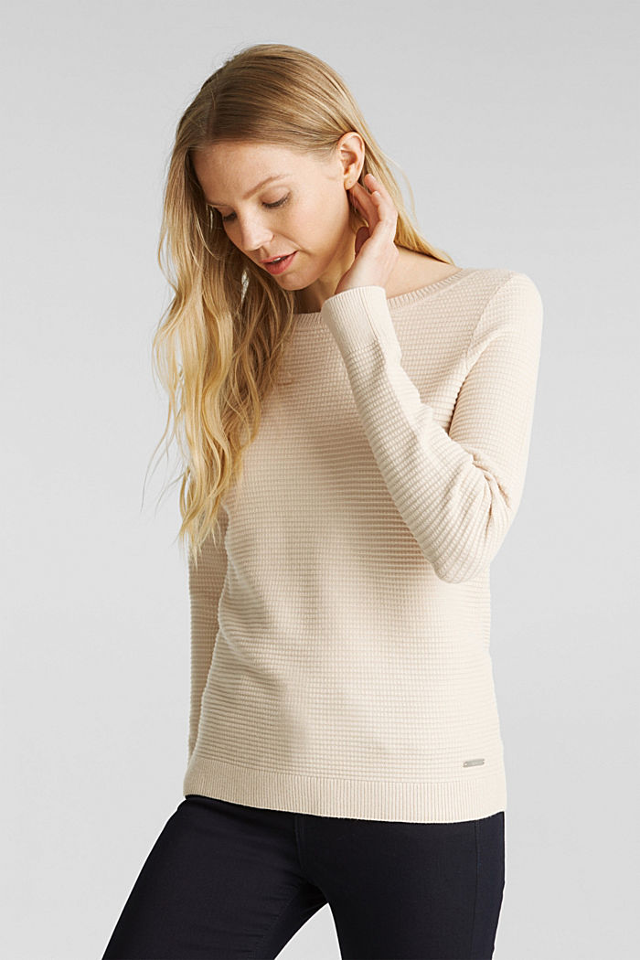 Basic jumper with a ribbed texture, SAND, detail image number 0