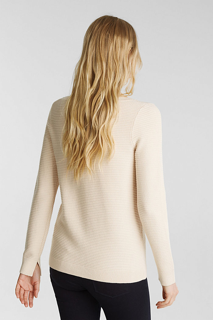 Basic jumper with a ribbed texture, SAND, detail image number 3