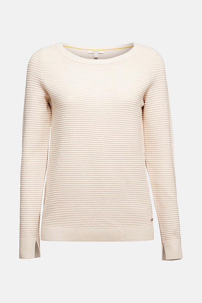 Basic jumper with a ribbed texture, SAND, detail image number 6