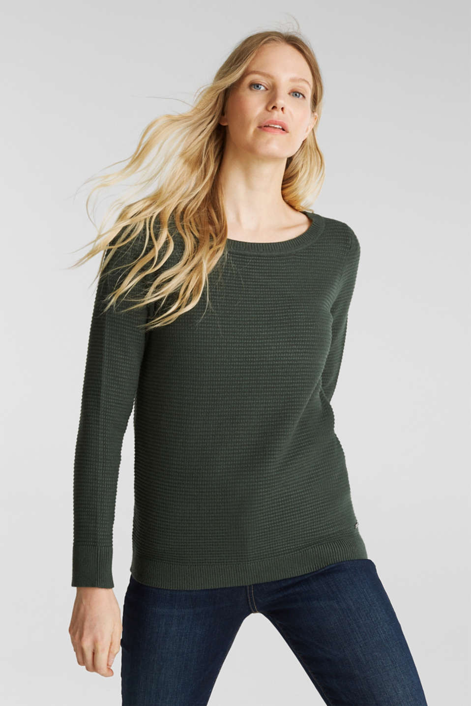 Esprit - Basic jumper with a ribbed texture