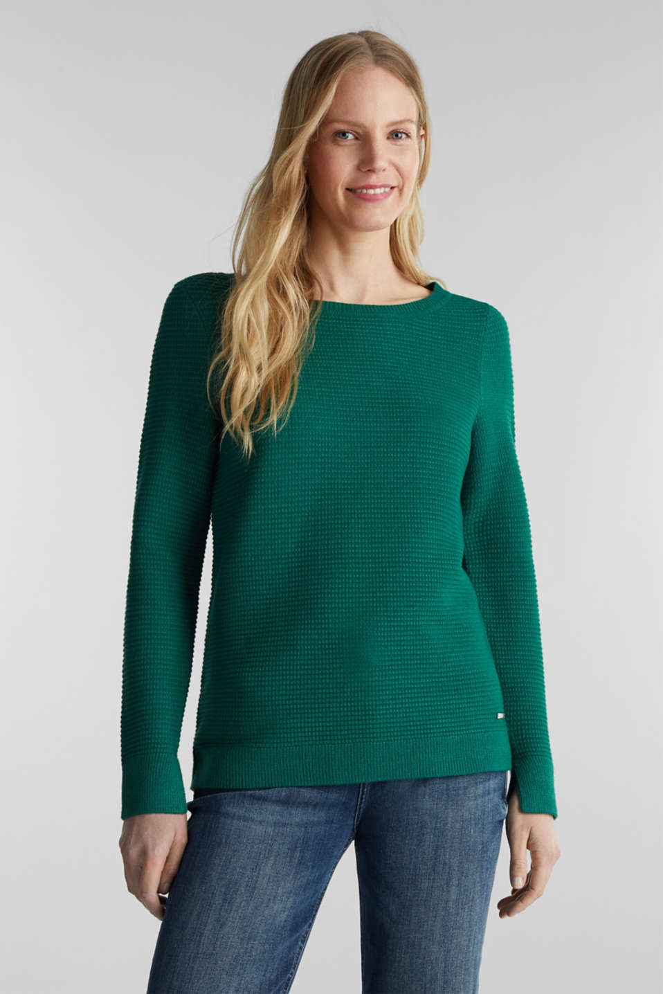 Basic jumper with a ribbed texture, DARK GREEN 5, detail image number 0