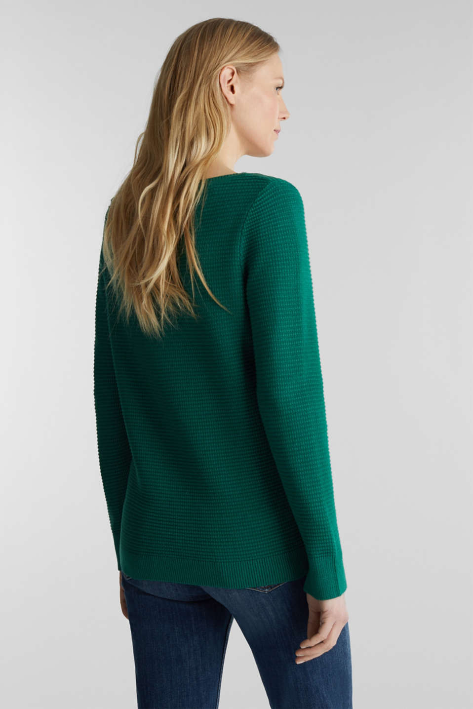 Basic jumper with a ribbed texture, DARK GREEN 5, detail image number 3