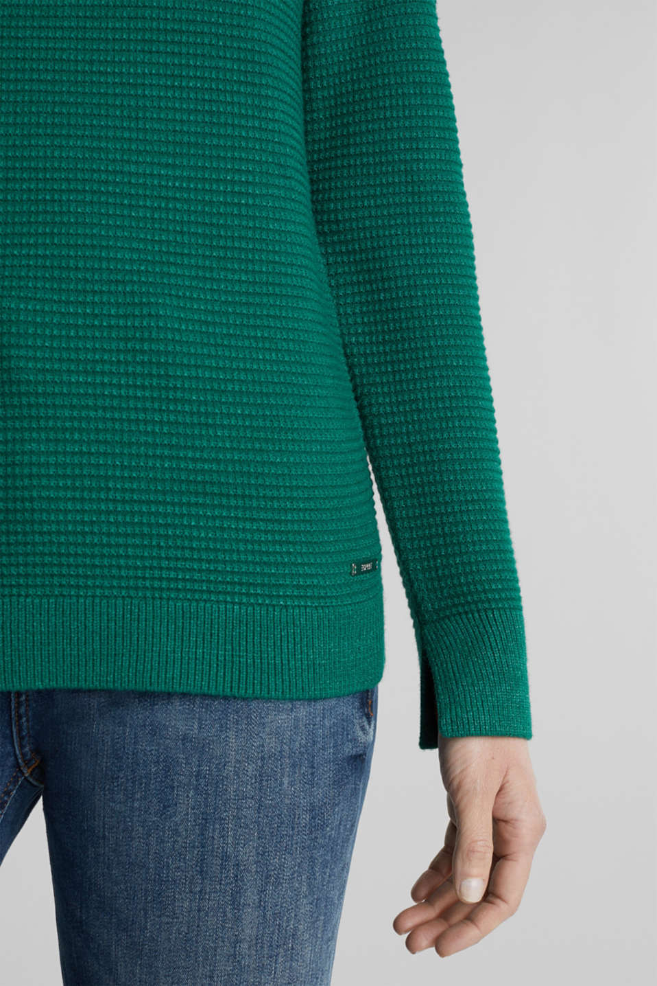 Basic jumper with a ribbed texture, DARK GREEN 5, detail image number 2