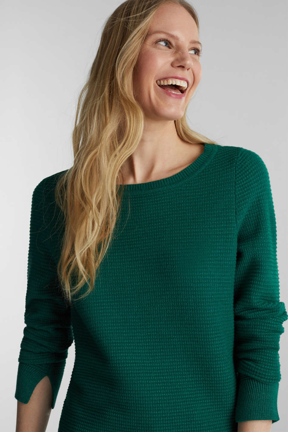 Basic jumper with a ribbed texture, DARK GREEN 5, detail image number 5
