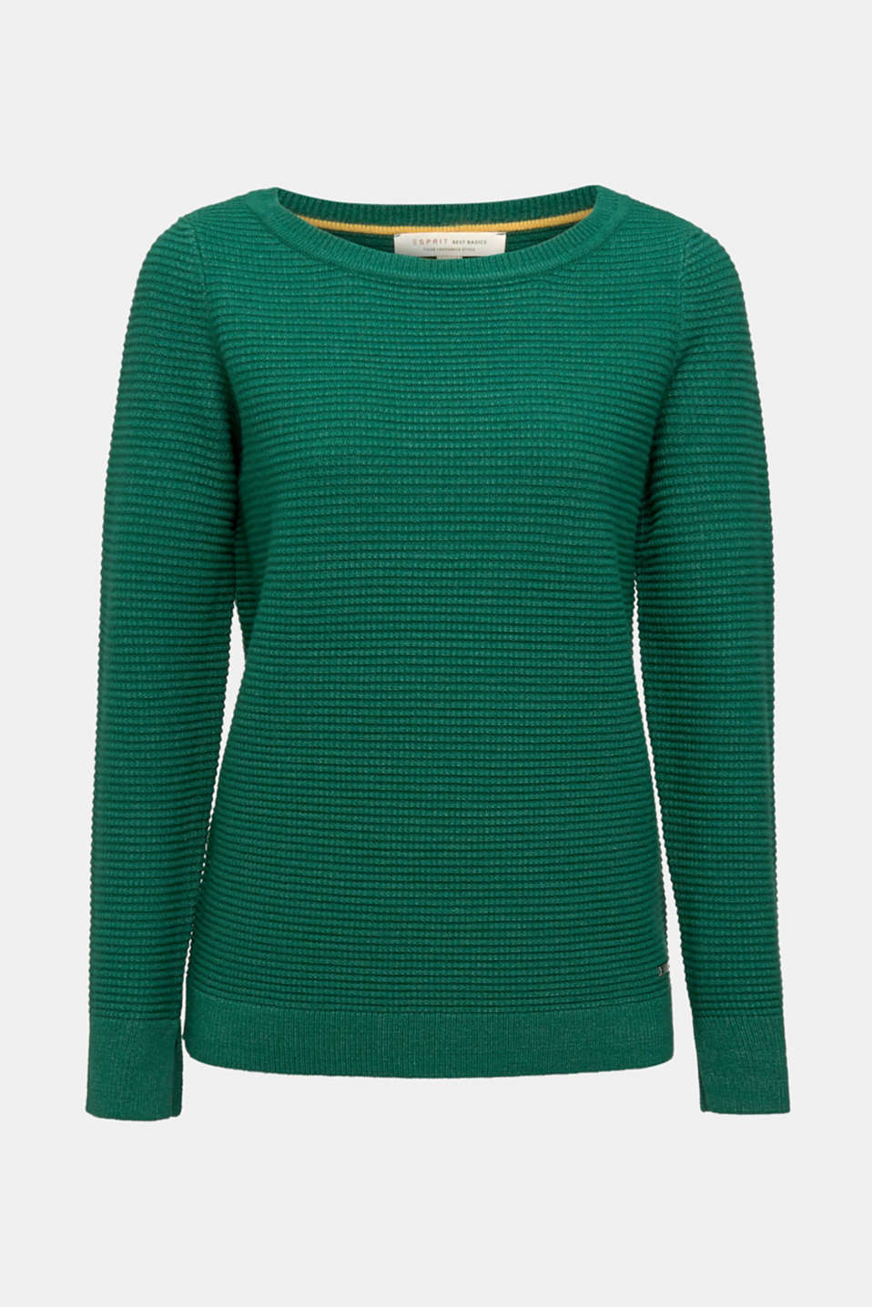 Basic jumper with a ribbed texture, DARK GREEN 5, detail image number 6