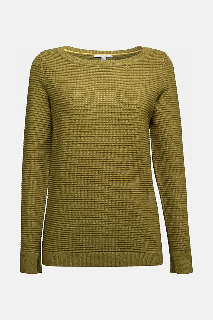 Basic-Pullover mit Ripp-Struktur, OLIVE, detail image number 6
