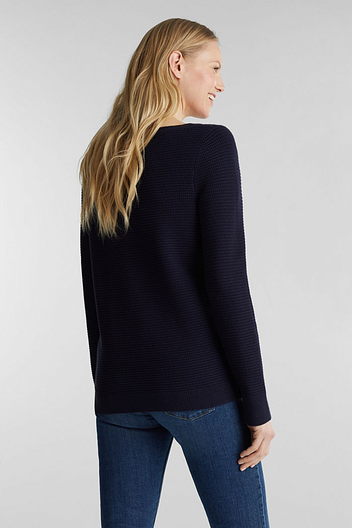 Basic jumper with a ribbed texture, NAVY, detail image number 3