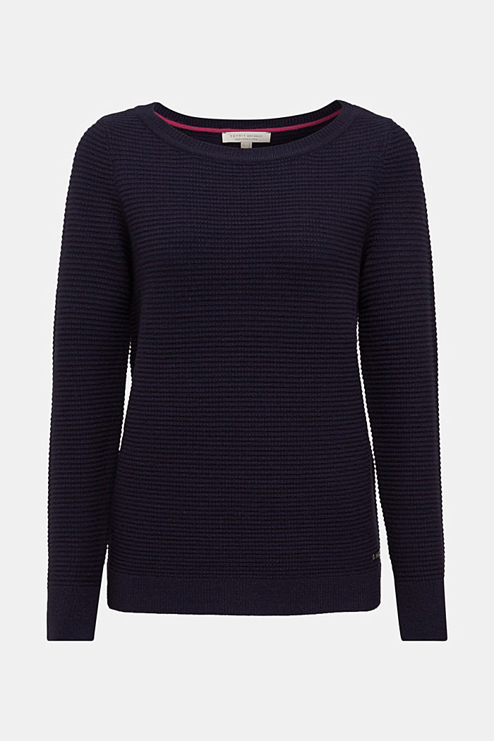 Basic jumper with a ribbed texture, NAVY, detail image number 5