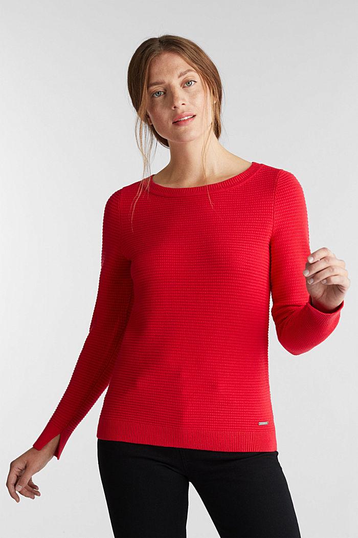 Basic-Pullover mit Ripp-Struktur, RED, detail image number 0