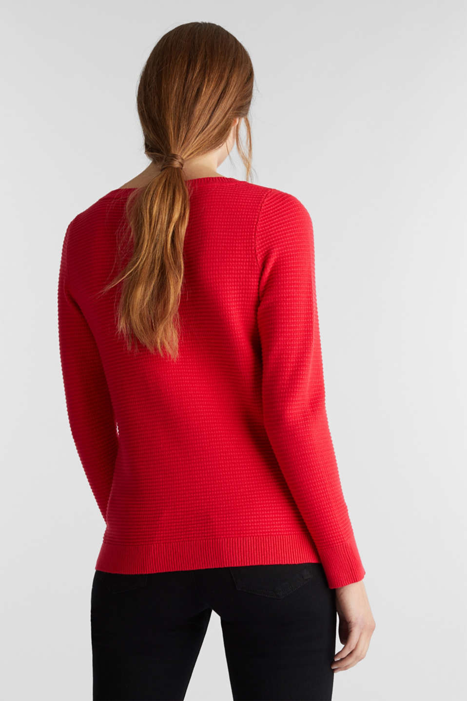 Basic jumper with a ribbed texture, RED, detail image number 3